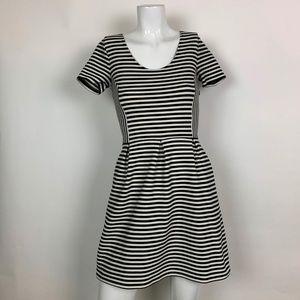 Madewell Dress Fit Flare stripes Black White Sz 2